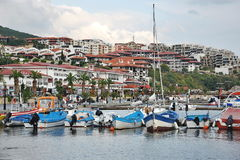 Coastal city, waterfront, marina, yachts and boats Stock Image
