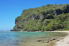 Coastal cliff with caverns Rurutu French Polynesia Stock Photos