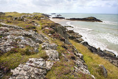 Coastal Cliffs, Anglesey, Wales. Coastal Cliffs with views of the Irish sea, Llanddwyn Island, Anglesey, Wales stock images