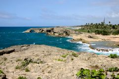 Coastal Cliffs and Beaches at Cueva Del Indio royalty free stock photo