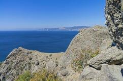 Coastal cliffs. The Black Sea coast. Stock Photos