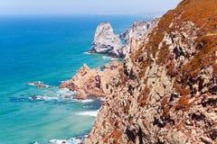 Coastal cliffs at cape Roca (Cabo da Roca) Sintra, Portugal Royalty Free Stock Photo