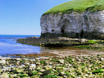 Coastal Cliffs and Caves. Cliffs and beach at North Landing in Flamborough, United Kingdom Royalty Free Stock Photos