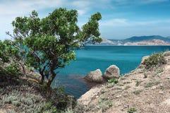 Coastal cliffs. Coastline, rocky shore, the view from the sea side, Crimea p Stock Photography