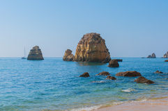 Coastal cliffs, Lagos, Portugal. Royalty Free Stock Photo