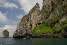 Coastal cliffs of Phi Phi Island in Thailand Royalty Free Stock Image