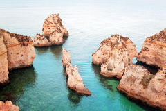 Coastal cliffs (Ponta da Piedade), Lagos, Portugal Stock Images