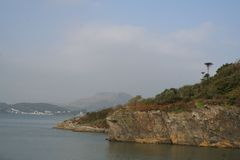 Coastal cliffs at Portmeirion Hotel, The Village, North Wales Royalty Free Stock Photo