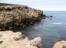 Coastal Cliffs. Rugged coastal cliff landscape taken in Robe, South Australia Royalty Free Stock Photo