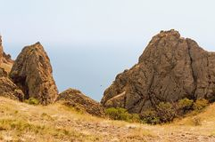 Coastal cliffs and views of the black sea Bay in the distance Stock Images
