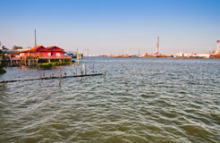 Coastal communities. Near cargo port in THAILAND., Some cargo port is under construction Royalty Free Stock Image