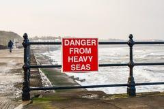 Coastal danger sign Royalty Free Stock Image