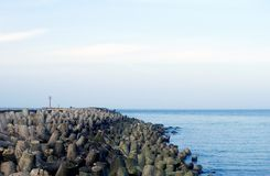 Coastal defense system. To protect from large waves or tsunamis Royalty Free Stock Photo