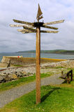 Coastal direction signpost, Scotland Royalty Free Stock Photography