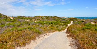 Coastal Dune Path: Cape Peron, Western Australia stock photo