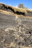 Coastal erosion at the beach of Burry Port Royalty Free Stock Photos