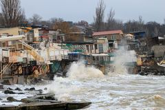 Coastal erosion - houses built on weak clay soil slide down to the sea. And collapse in Odessa, Ukraine Royalty Free Stock Images
