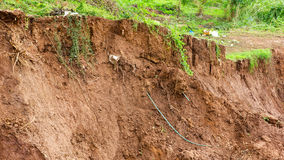 Coastal erosion, land slides. Soil slides down the river bank erosion due to water damage which has underground grass grow Royalty Free Stock Images