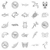 Coastal fauna icons set, outline style. Coastal fauna icons set. Outline set of 25 coastal fauna vector icons for web isolated on white background Royalty Free Stock Photos
