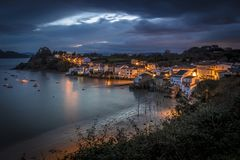 Coastal fishing town of Redes. In Ares estuary, Galicia Spain Royalty Free Stock Images