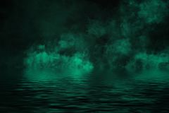 Coastal fog . Green smoke on the shore . Water reflection. Mistery coastal fog . Green smoke on the shore . Water reflection royalty free illustration
