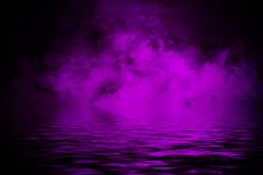 Coastal fog . Purple smoke on the shore . Water reflection. Mistery coastal fog . Purple smoke on the shore . Water reflection vector illustration