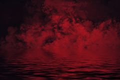 Coastal fog . Red smoke on the shore . Water reflection. Mistery coastal fog . Red smoke on the shore . Reflection in water stock illustration