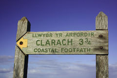 Coastal footpath sign Stock Images