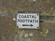 Coastal Footpath sign. This is a sign noting the Footpath for the coastal areal in the Southwest UK Stock Photography