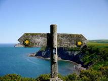 Coastal Footpath Signage. Signage at a beautiful viewpoint along the Yorkshire Coast Stock Image