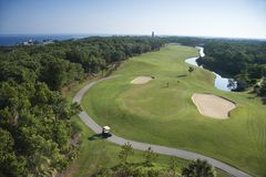 Coastal golf course. Royalty Free Stock Photo