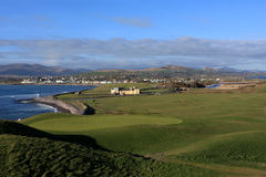 Golf Course On The ring Of Kerry, Ireland. Golf Course on the ring of Kerry, with views of the Atlantic ocean and the seaside village of Waterville. County Kerry Stock Photography