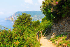 Coastal hiking trail in the Cinque Terre, Italy Royalty Free Stock Photography