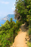 Coastal hiking trail in the Cinque Terre, Italy Royalty Free Stock Images