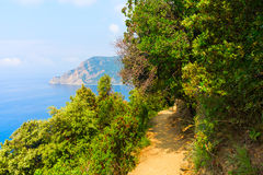 Coastal hiking trail in the Cinque Terre, Italy Royalty Free Stock Photo