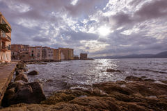 Coastal houses in saint tropez with beautiful sky. Royalty Free Stock Image