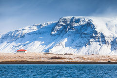 Coastal Icelandic landscape with snowy mountains Royalty Free Stock Image