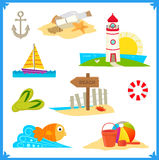 Coastal Icons. Cute vector set of nine coastal icons. Eps10 royalty free illustration