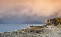 Coastal Landscape. The stony beach and cliff features of Elgol, Isle of Skye, Scotland Stock Images