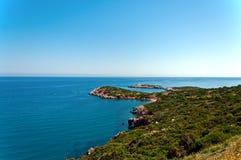 Coastal landscape. Shrubby coastal landscape  Crete Greece Royalty Free Stock Photo