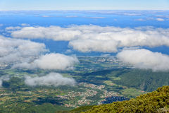 Coastal landscape from above with clouds, la Reunion island Royalty Free Stock Photography