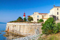 Coastal landscape of Ajaccio, old citadel with lighthouse. Tower, Corsica island, France Royalty Free Stock Image