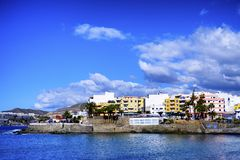 A coastal landscape from Arguineguin in Gran Canaria. Under a blue sky stock photos