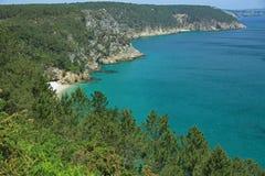 Coastal landscape at the Atlantic Ocean, Brittany, France Royalty Free Stock Photo