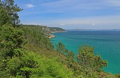Coastal landscape at the Atlantic Ocean, Brittany, France Stock Images