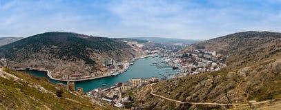 Coastal landscape of Balaklava. Crimea, Ukraine, sunny weather royalty free stock image