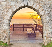 Coastal landscape at the Baltic Sea seen through the arch Stock Photo