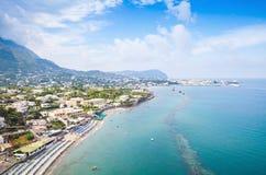 Coastal landscape with beach of Forio, Ischia Royalty Free Stock Photos