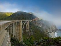 Coastal landscape with Bixby Bridge Royalty Free Stock Image