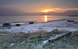 Coastal landscape with boats of fishermen Royalty Free Stock Photography